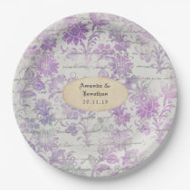 Lavender Floral Damask Wedding Paper Plate
