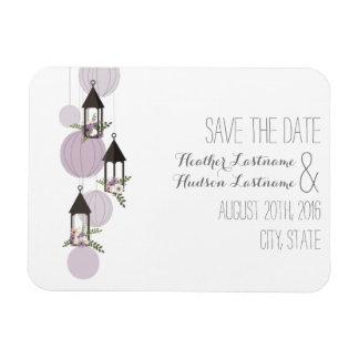 Lavender Floral Lanterns Save The Date Magnet