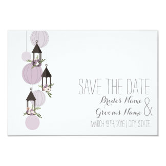 Lavender Floral Lanterns Wedding Save The Date 9 Cm X 13 Cm Invitation Card