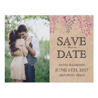 Lavender Floral Save the Date Postcard