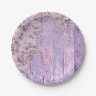 Lavender Floral Shabby Chic Paper Plate 7 Inch Paper Plate