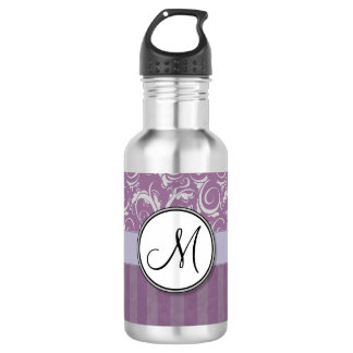 Lavender Floral Wisps & Stripes with Monogram 532 Ml Water Bottle