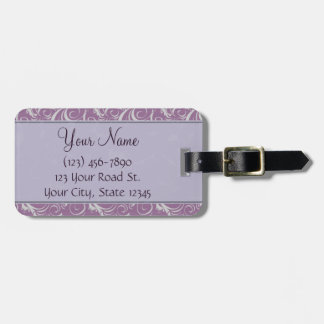 Lavender Floral Wisps & Stripes with Monogram Luggage Tag