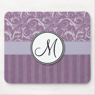 Lavender Floral Wisps & Stripes with Monogram Mouse Mat