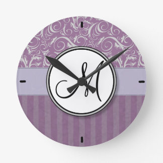 Lavender Floral Wisps & Stripes with Monogram Round Clock