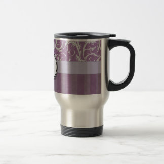 Lavender Floral Wisps & Stripes with Monogram Travel Mug