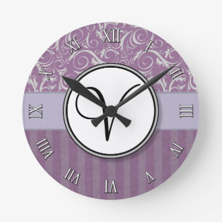 Lavender Floral Wisps & Stripes with Monogram Wall Clocks