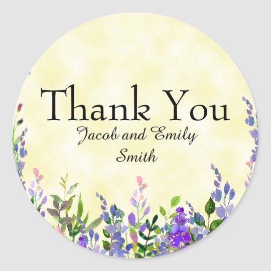 Lavender Floral Yellow Wedding Thank You Sticker