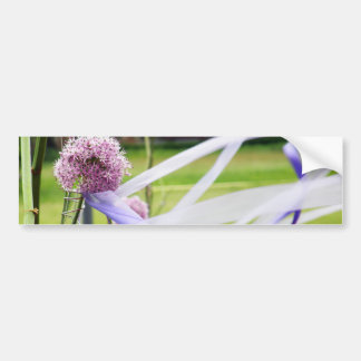 Lavender flower ball with streaming ribbons bumper sticker