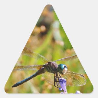 Lavender flower dragonfly triangle sticker
