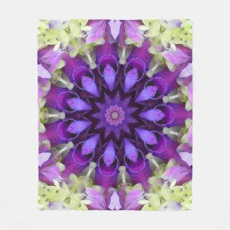 Lavender Flower Mandala Fleece Blanket