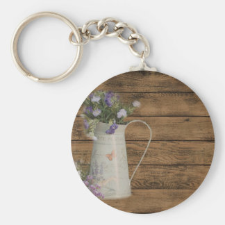 lavender flower rustic barn wood french country key ring
