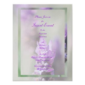 "Lavender flower stylish wedding engagement 4.25"" x 5.5"" invitation card"