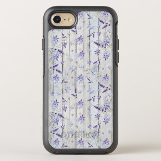 Lavender Flowers and Stems on White Wood OtterBox Symmetry iPhone 7 Case