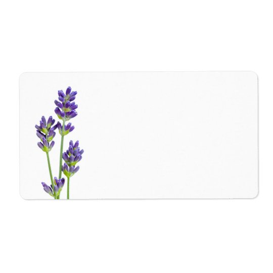 Lavender Flowers Isolated On White Background Shipping Label