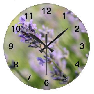Lavender Flowers. Large Clock