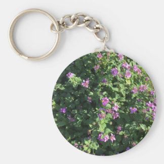 Lavender Flowers on a photographic print. Basic Round Button Key Ring