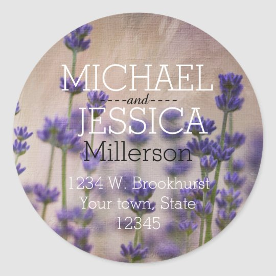 Lavender Flowers Personalised address Classic Round Sticker
