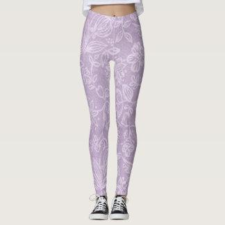Lavender Flowers Purple Leggings