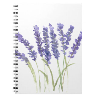 Lavender flowers spiral notebook