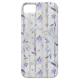 Lavender Flowers & Stems on White Wood iPhone 5 Case