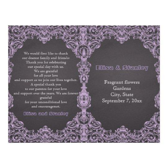 Lavender frame, chalkboard folded wedding program flyer