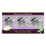 Lavender Frog and Lotus Birth Announcements Custom Photo Card