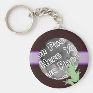 Lavender Frog and Lotus Keychain