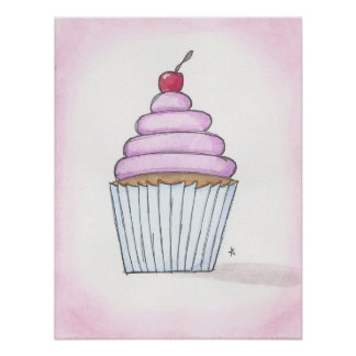 lavender frosted cupcake poster