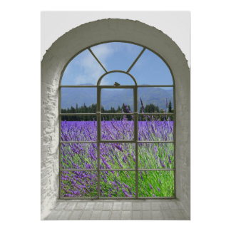 Lavender Garden Faux Window View Poster