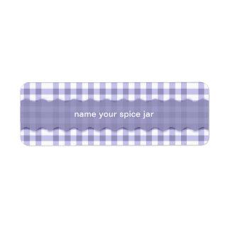 Lavender Gingham Checks Personalized Return Address Label