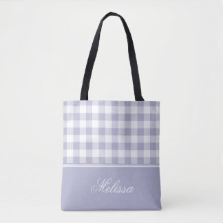 Lavender Gingham | Personalized Tote Bag