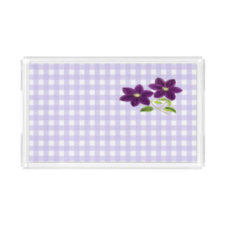 Lavender Gingham with Two Purple Flowers Acrylic Tray