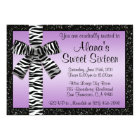 Lavender Glitter Invite With Zebra Print Bow