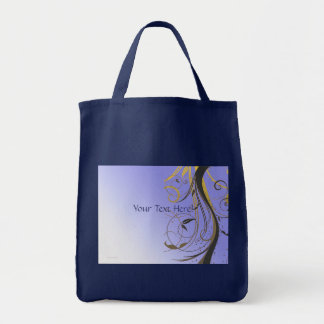 Lavender Gold Black Swirl Grocery Tote Bag