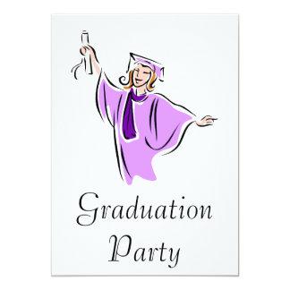 Lavender Graduate 13 Cm X 18 Cm Invitation Card