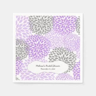 Lavender Gray Dahlia mums / your own wording Disposable Serviettes