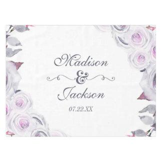 Lavender & Gray Floral Wreath Wedding Monogram Tablecloth