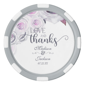 Lavender & Gray Floral Wreath Wedding Thank You Poker Chips