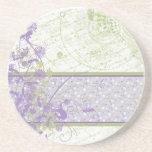 Lavender & Green floral Swirls Coasters