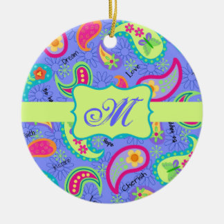 Lavender Green Modern Paisley Pattern Monogram Christmas Ornament