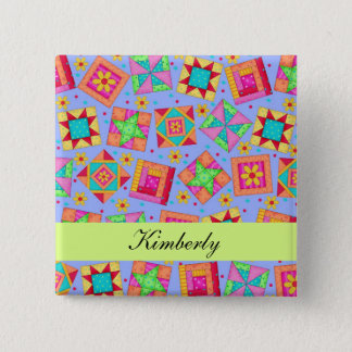 Lavender Green Patchwork Quilt Blocks Name Badge