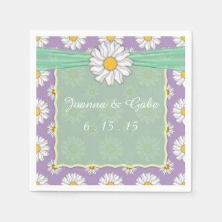 Lavender Green White Daisy Floral Wedding Napkins Disposable Napkin