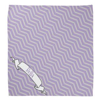 Lavender Grey Chevron Pattern Banner Pet Dog Name Bandana