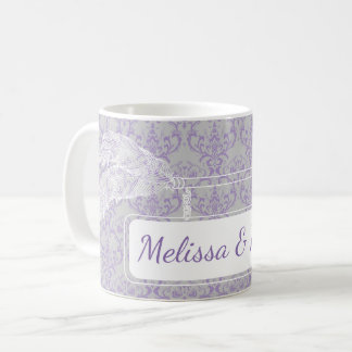 Lavender Grey Floral Arrow Banner Monogram Wedding Coffee Mug