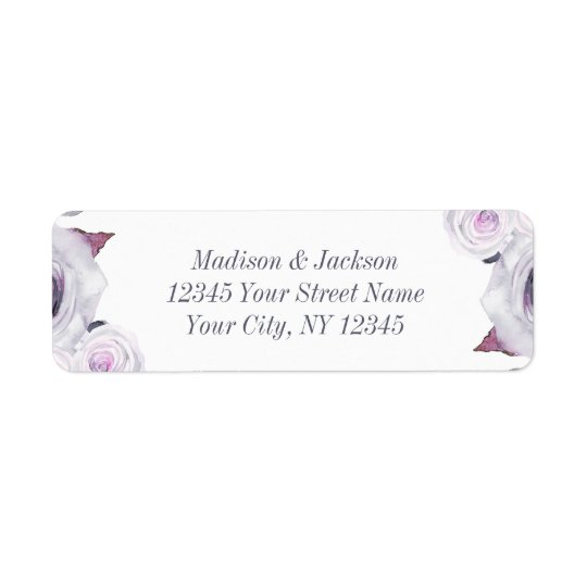 Lavender & Grey Floral Wedding Return Address