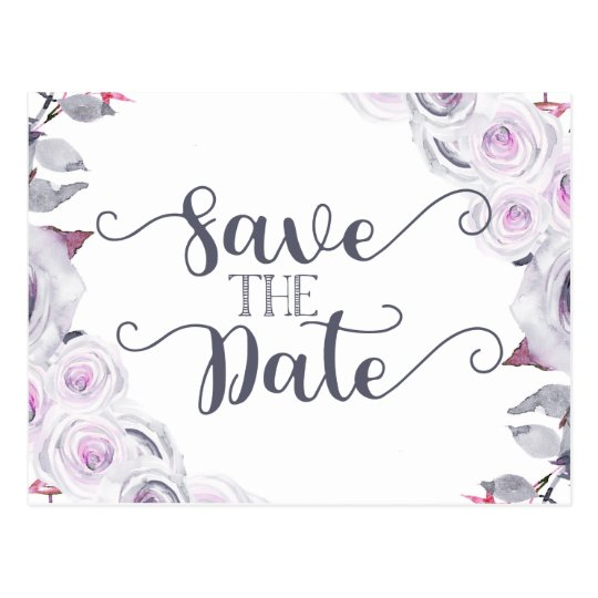 Lavender & Grey Floral Wedding Save the Date