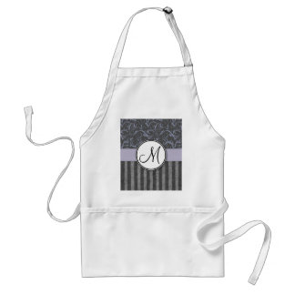 Lavender Grey Floral Wisps & Stripes with Monogram Standard Apron