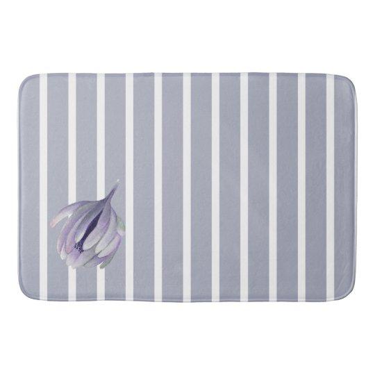 Lavender Grey Flower Bud on Grey Stripes Bath Mat