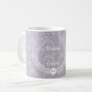 Lavender Grey White Floral Wreath Monogram Wedding Coffee Mug